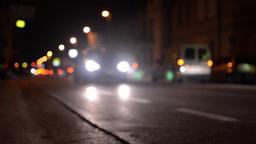 Blurred traffic night city Footage