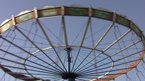 Rotating Carousel In An Amusement Park 06 stock footage