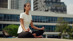 Relax Business Woman Yoga Lotus Position Outside Office Building stock footage