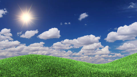 3d Animation Grass And Time Lapse Clouds stock footage