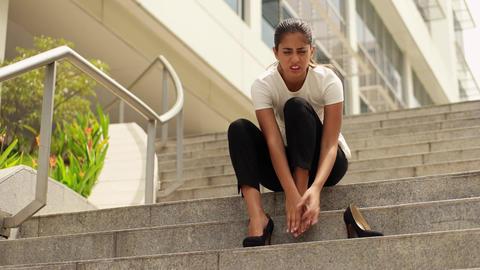 Business Woman Walking On High Heels Feeling Pain At Feet Footage