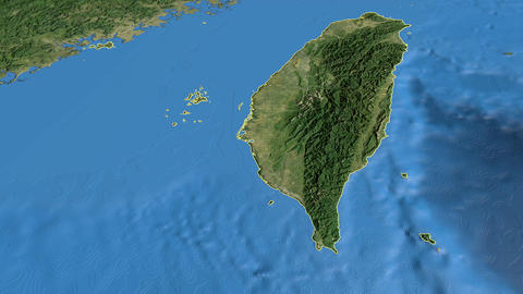Taiwan, glide over the map, outlined Animation