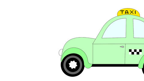 Taxi rides on a white background, advertising, animation, cartoon Footage