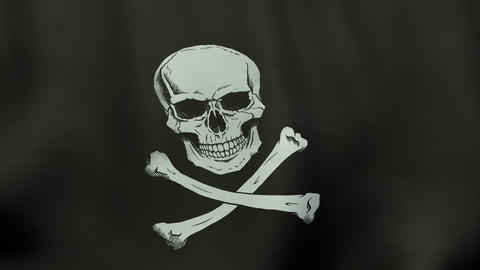 4K UltraHD Loopable Waving Jolly Roger Pirate Flag Animation stock footage