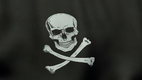4K UltraHD Loopable waving Jolly Roger pirate flag animation Videos animados