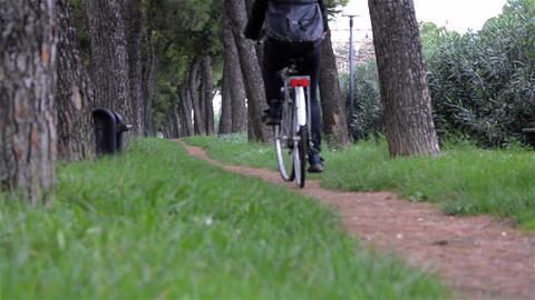 Woman biking slowly through park 2562 Footage