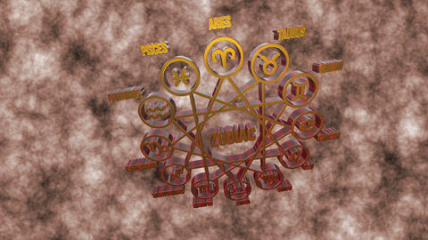 Zodiac Signs In 3d On A White Background stock footage