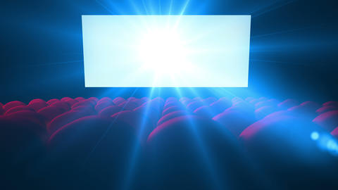 Flickering White Screen With Lens Of Empty Modern Cinema stock footage