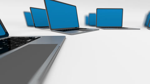 Stack of Laptops. Loopable. Depth of field Animation