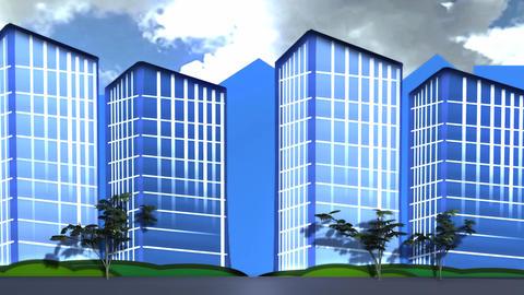 City Apartemen Building Cartoon Look stock footage