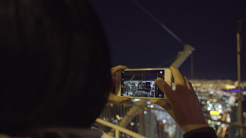 Taking picture of Las Vegas Strip from tower 4 K UHD Live Action