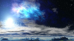 Bright Nebula Above The Clouds stock footage