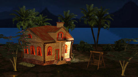 Night View Little House Cartoon Cinderella Story stock footage