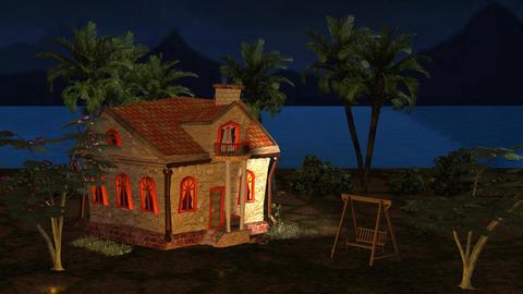 Night View Little House Cartoon Cinderella Story Footage