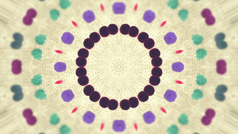 Abstract animation, retro dotted kaleidoscope pattern on aged paper Animation