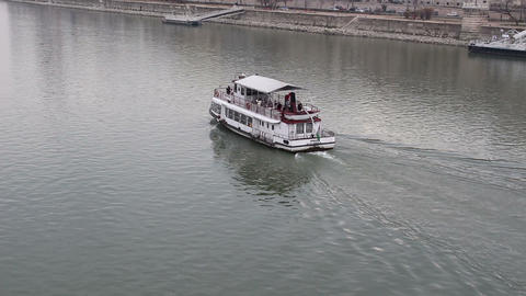 Boat On River Danube stock footage