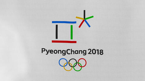 4K Loopable: Pyeongchang 2018 Winter Olympic Games Flag Waving in Wind Footage