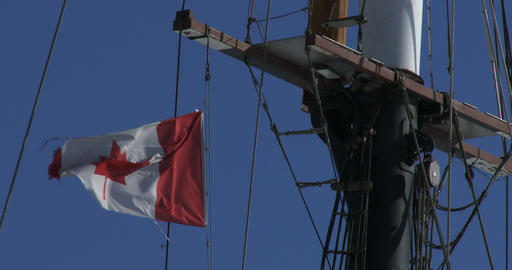 Canadian flag waving on a boat Footage
