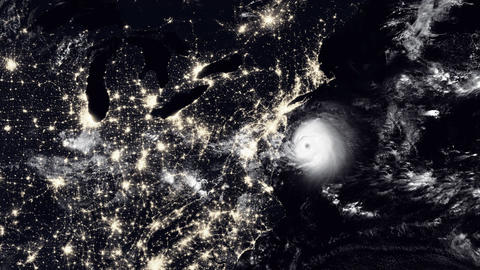 Hurricane hits Washington At Night Animation