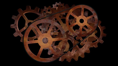Steampunk Transmission With Gears and Cogs Animation