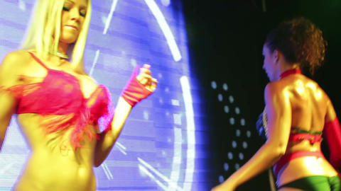 The PJ dancers on the stage of summer nightclub Footage