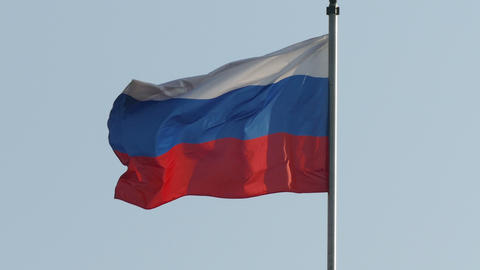 Russian State Flag In The Wind In The Afternoon -4K stock footage