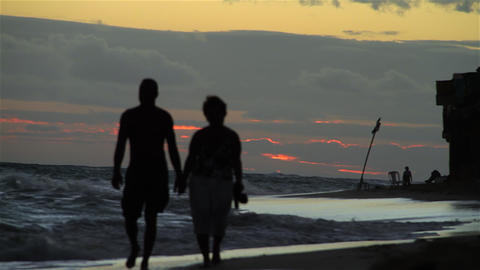 Couple Walking On Beach stock footage