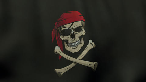 4K UltraHD Loopable waving colored Jolly Roger pirate flag animation Animation