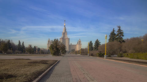 Walk along to Lomonosov Moscow State University. Motion timelapse hyperlapse 4K Footage