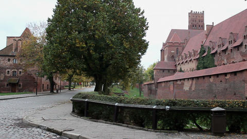 View of the external and internal walls of the medieval castle Footage