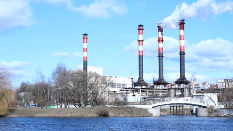 Ecology Pollution Environment: Smoking Pipe Of Power Plant stock footage