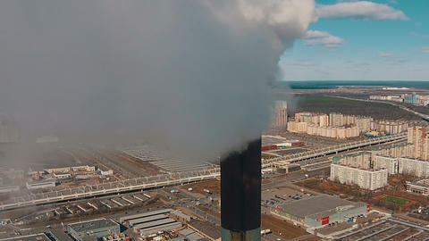 Flight Downward near with Pipe District Power Plant Footage