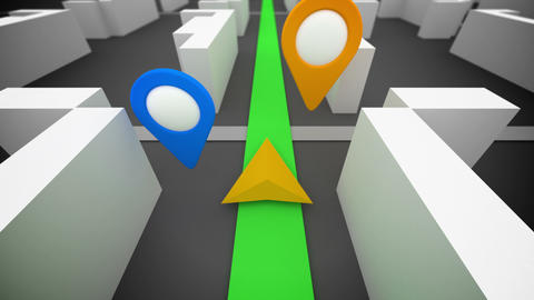 GPS route navigation and colorful marks Animation