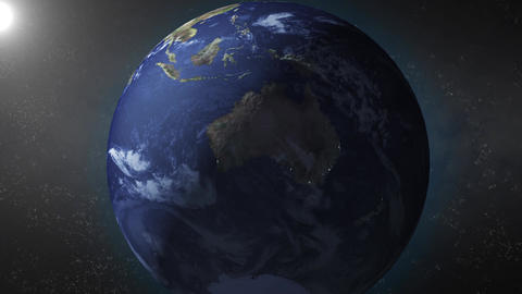 Earth animation zooms in on Australia Animation