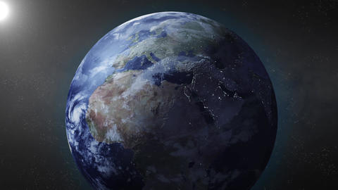 Earth animation zooms in on Europe Animation