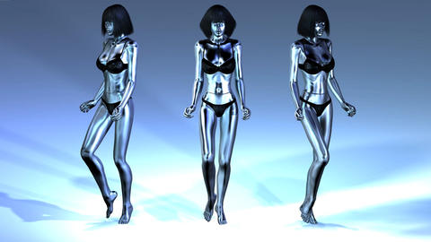Digital Animation of three walking Manikins Animation
