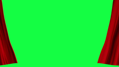 Red Curtains open, isolated on green screen Animation