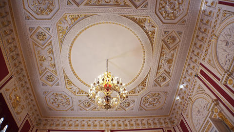 Gorgeous rooms and interiors of the Mikhailovsky Castle in St. Petersburg. 4k Footage