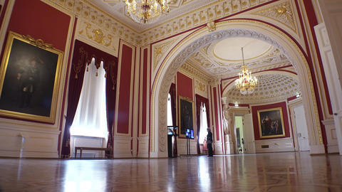 Gorgeous rooms and interiors of the Mikhailovsky Castle in St. Petersburg. 4k Live Action