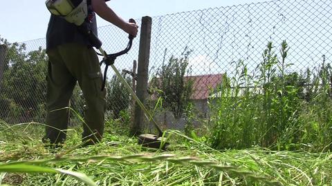 Gardener mowing grass 02 Footage