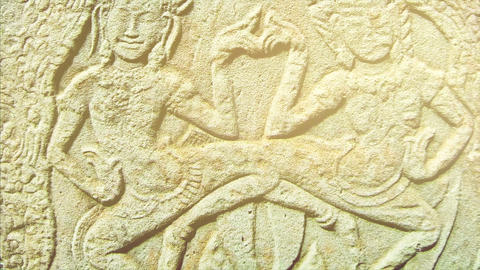 SIEM REAP - NOVEMBER 2014: Relief in Bayon temple. Cambodia Archivo