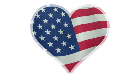 4K UltraHD loopable beating heart symbol with waving American flag Animation