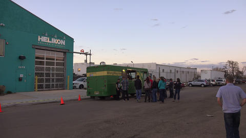 Veggie Food Truck With Warehouse Background stock footage