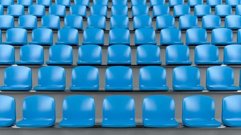 Blue plastic seats at the stadium Animation