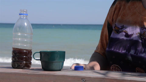 Coffee on the beach 1 Footage