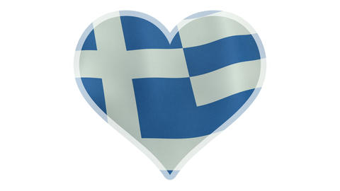 4K UltraHD loopable beating heart with Greek flag Animation