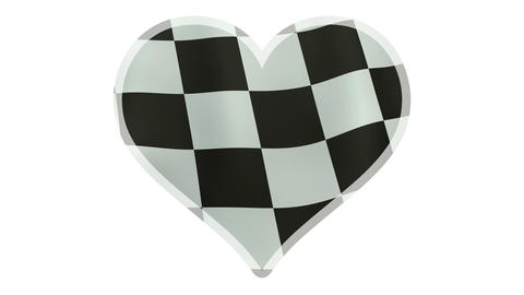 4K UltraHD loopable beating heart symbol with waving checkered flag Animation