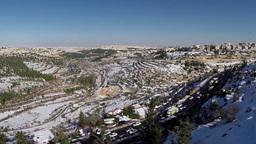 Jerusalem Snowy Mountains Flight View stock footage