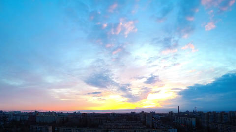 Sunrise over the City. Timelapse Footage