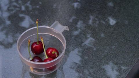 Young Woman With Cherry 07 stock footage